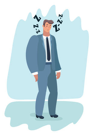 Vector cartoon illustration of tired man office worker character has no energy. Illustration