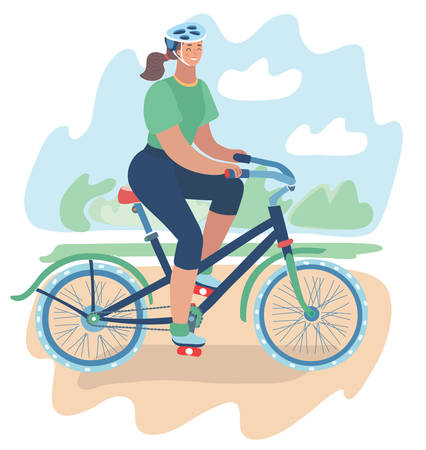 Vector cartoon illustration of athletic girl rides bicycle in helmet around city park. Summer landscape