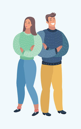 Vector cartoon illustration of Full length of couple standing arms crossed against white background. Proud people who did their work well Ilustração Vetorial