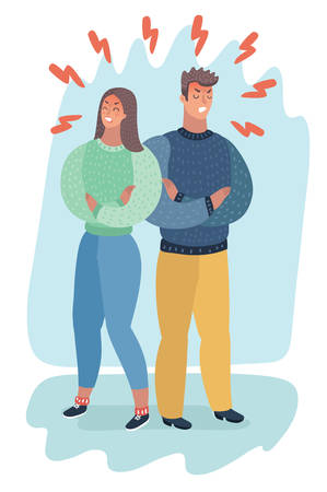 Vector cartoon illustration of angry couple turning their backs on each other and holding their arms crossed. Human characters. Annoyed people.