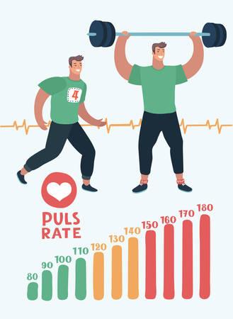 Illustrazione del fumetto di vettore dell'elemento della scala della frequenza cardiaca, uomo che corre, uomo con bilanciere e pulsazioni. Cardio, allenamenti aerobici anaerobici