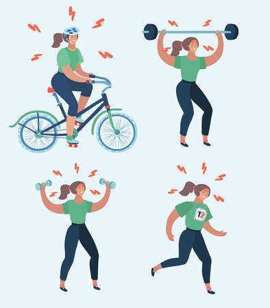 Vector cartoon illustration of hard woman workout. Annoyed woman making perfect body with the different exercise. Dumbbell, barbell, bicycle, running, anaerobic, aerobic workouts. Try to join sports.