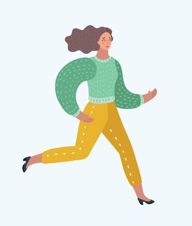 Vector cartoon funny women hurried running illustration. Illustration
