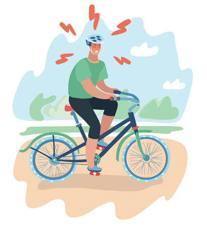 Vector cartoon illustration of cyclist, young man with helmet at hard bicycle ride. Angry man in different training. Try to lose weight or join to sport culture or outrun others. Male character.