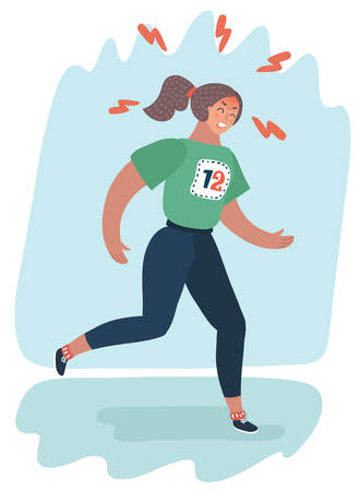 Vector cartoon illustration of girl in a tracksuit running is and workout. athletic walking. Sport for beginner. Try to lose weight or join to sport culture. Illustration