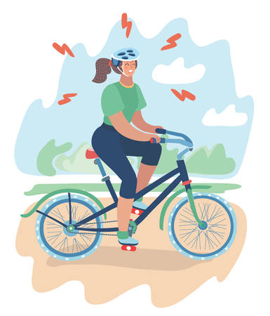 Vector cartoon illustration of tense girl in helmet with mountain bike ride. Sport for beginner. Try to lose weight or join to sport culture or relieve stress. Female character at park landscape.