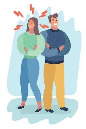 Vector cartoon illustration of Angry and furious woman standing near her boyfriend. Human characters.