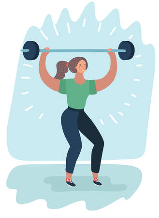 Vector cartoon illustration of Woman with Barbell. Fit Girl. Healthy Lifestyle. Exercise workout. Illustration