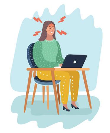 Illustration de dessin animé de vecteur de femme en colère regarde l'ordinateur portable aux tables. Stress au travail. Vecteurs