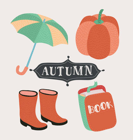 Vector cartoon style set of autumn mood symbols: opened umbrella, rubber boots, book, pumpkin in vintage colors. Elements for print for inscription for greeting invitation card or print, poster design