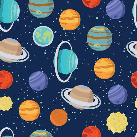 Vector seamless space pattern with solar system planet moon ans stars. Cosmic background