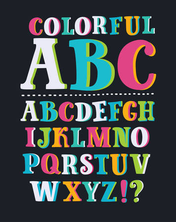 Vector english funny cartoon comics font. Latin capital upper case multicolour aphabet. Three-dimensional letters