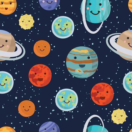Lustiges Muster der Vektorkarikatur der Planeten des Sonnensystems. Panet mit lächelnden Gesichtern