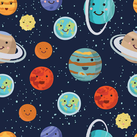 Vector cartoon funny pattern of the planets of the solar system. Panet with smiling faces