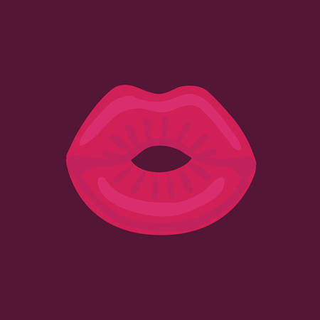 Red kissing woman lips on dark background