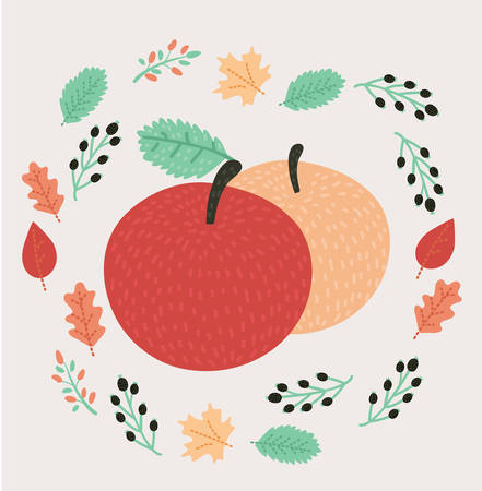Vector cartoon autumn illustration of pair apple decorated with red and green leaves around. Cute modern style design in fall mood. Isolated object.