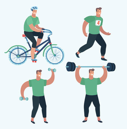 Vector cartoon illustration of Set Sports man make sport exercise. Doing warm-up and exercises with barbell and dumbbells, riding bike and running at the park. Cardio, anaerobic aerobic workouts Illustration