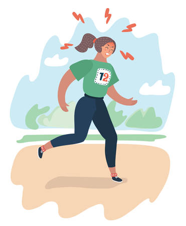 Vector cartoon illustration of a woman hard running at the park. Try to lose weight or join to sport culture or relieve stress. Female character at park landscape.