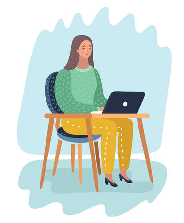 Vector cartoon illustration of Girl sitting in front of laptop at the table in office with sad  and cry.