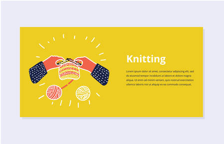 Vector cartoon illustration of Simple illustration with knitting needle, human hands. Banner template concept design. Colorful background.
