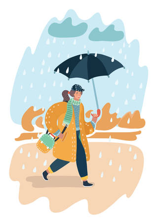 Vector cartoon illustration of fall landscape. Girl walking in the rain with umbrella and yellow coat. Puddle, clouds rain. Illustration