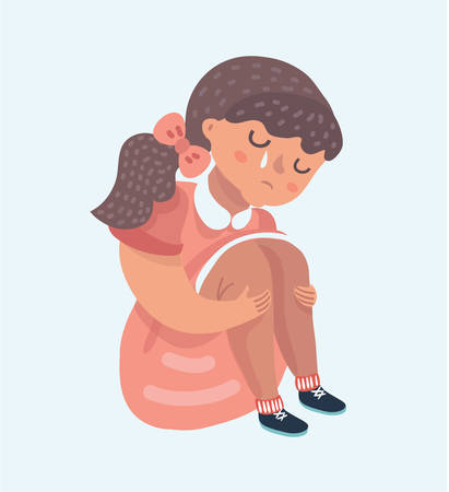 Vector cartoon illustration of little sad girl in pink sitting alone and cry. Tear on her face.