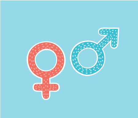 Vector cartoon illustration of isolated gender, pink women and blue man symbols. Hand drawn symbols. Ilustração Vetorial