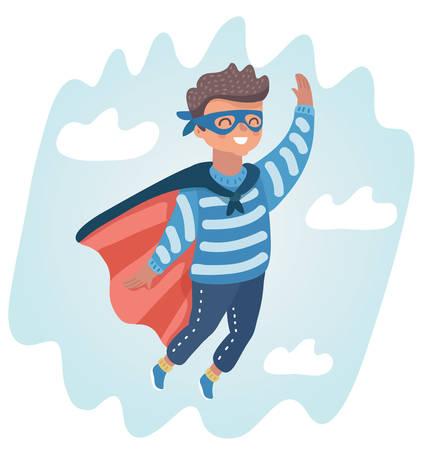 Ilustración de dibujos animados de vector de niño jugar superhéroe en el cielo.