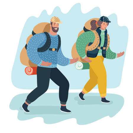 Vector cartoon illustration of people travel. couple with backpack go to camping on a vacation.