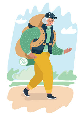 Vector cartoon illustration of couple of elderly woman tourist with backpack.. Travel and tourism at any age concept. Female character on park landscape.