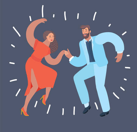 Vector cartoon illustration of swing dancers. Couple dance. Male and female characters in modern style at dark background. Illustration
