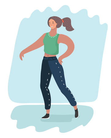 Vector cartoon illustration of dancing girl. Woman in pose dance position. Female character.