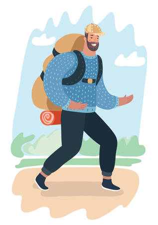 Vector cartoon illustration of man travel with backpack. Modern human character walk at nature landscape.