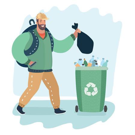 Vector cartoon illustration of Man throwing trash go green garbige can.