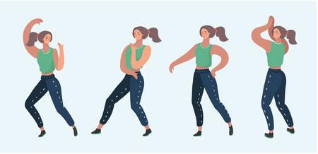 Vector cartoon illustration of Set Dance girl pose. Four dance position on white background.
