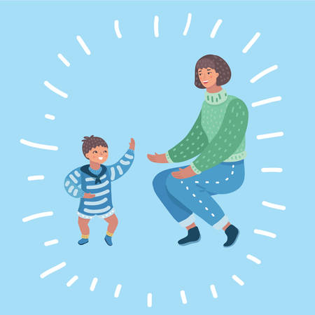 Vector cartoon illustration of portrait of a beautiful happy mother with child. Toddler little boy try to walk.