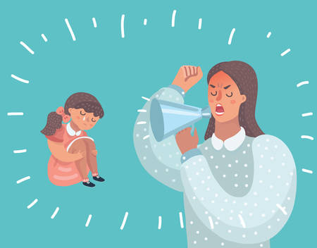 Vector cartoon illustration of mother and her daughter. Little girl crying.