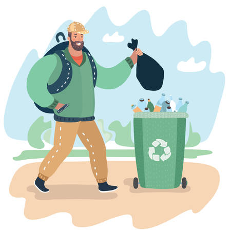 Vector cartoon illustration of bearded young man with rubbish bag going throw into the trash on the street.