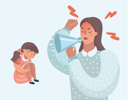 Vector cartoon illustration of Mother angry with her daughter. Woman cry at her with speaklouder. Little girl crying. demanding mother, improper upbringing, psychological problems in the family.
