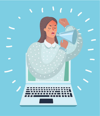 Vector cartoon illustration of woman appears from laptop computer with a megaphone.