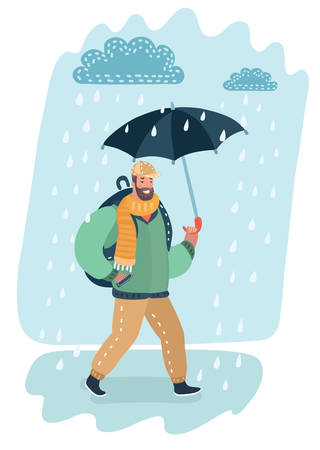 Vector cartoon illustration of casual man walking with umbrella under the rain. Puddle and clound.