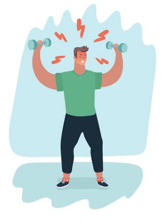 Vector cartoon illustration de gym addict fitness homme musclé. Essayez de perdre du poids ou de rejoindre la culture sportive ou de soulager le stress. Personnage féminin au paysage du parc.