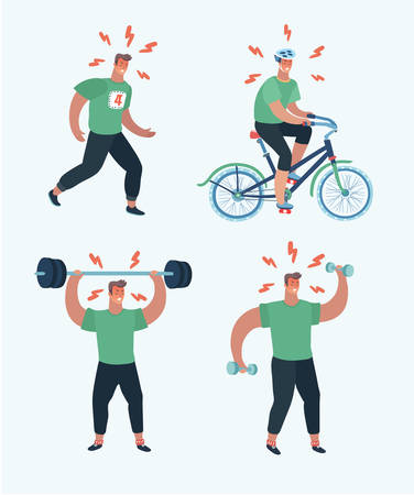 Vector cartoon illustratio of man, working out with barbell and dumbbell riding bike and running at the park and cardio. Beginner try to lose weight or join to sport culture or relieve or relieve stress.