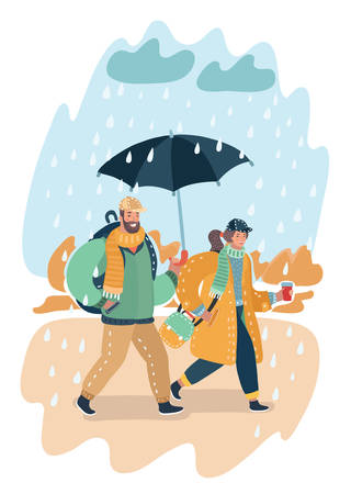 Vector cartoon illustration of Happy couple autumn. Fall landcscape.