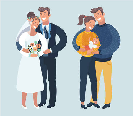 Vector cartoon illustration of stages of happy family life. Marriage, husband, wife and baby. Various situations of relationship. Newlyweds.