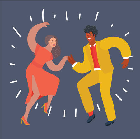 Vector cartoon illustration of dancing swing couple. White woman and black man. Modern human characters on dark background. Illustration
