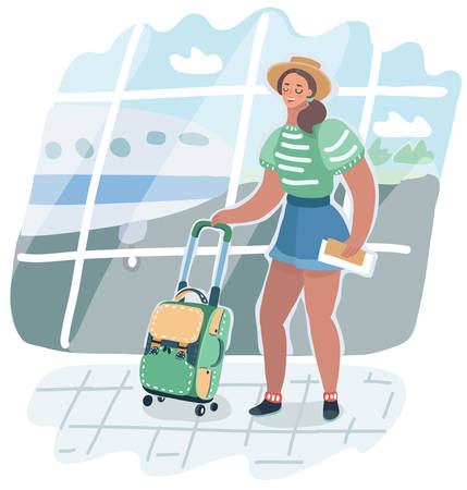 Vector cartoon illustration of young American woman in airport. Traveler with luggage on airplane background. Vacation. Arrival in terminal. Adult tourist in hat with bag holding passport and tickets.