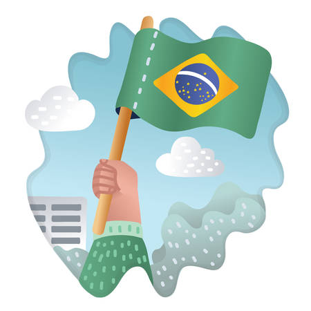 Vector cartoon illustration of Hand holding and raising the national flag of Brazil. Fans, patriotic concept on outdoor background.