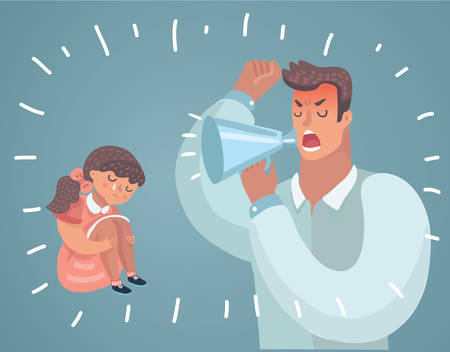 Father Scolding His daughter. Angry Dad Yells at Little Scared girl. Wrong education. Illustration