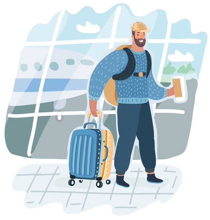 Vector cartoon illstration of Man with back and back pack is going in airport terminal holding passport and tickets . Check in. Airport background. Vectores